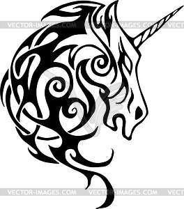 Einhorn Tattoo - farbige Vektorgrafik
