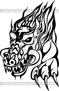 Drache Flammentattoo - Vector-Clipart EPS