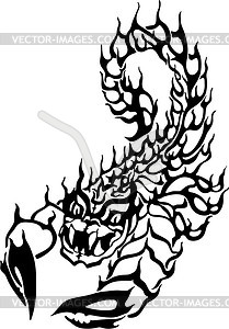 Skorpion Tattoo Flamme - Royalty-Free Clipart