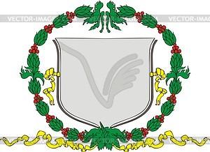 Wappenschild mit Kranz - Vector Clip Art