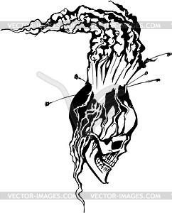 Schädel-Vulkan Tattoo - Vektorgrafik