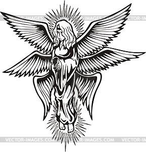 Sechs-geflügelter gestrahlte Engel - Vektorgrafik