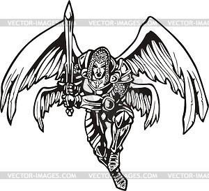 Engel Krieger mit Schwert - Vektor-Skizze