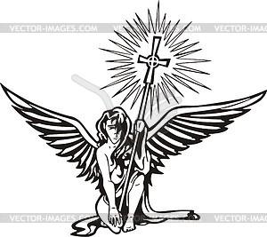 Engel mit Kreuz - Vektor-Abbildung