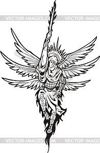 Sechs-geflügelter Erzengel mit flammendem Schwert - Vektorgrafik