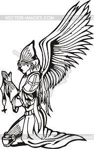 Engel Krieger betet - Vektorgrafik