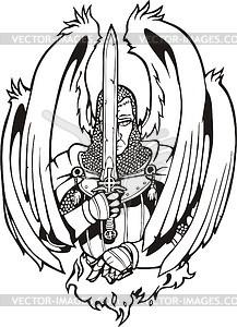 Engel Ritter mit Schwert - Vektorgrafik