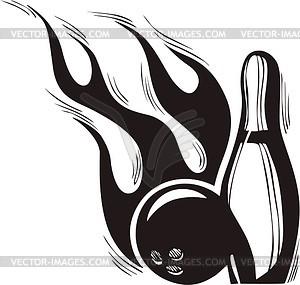 Bowling Kegelbahn Flamme - Stock Vektor-Bild