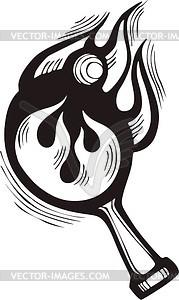 Ping-Pong-Schläger Flamme - Vektorgrafik