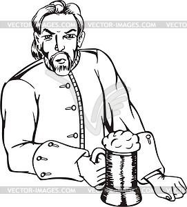 Mann mit Bier - vektorisierte Grafik