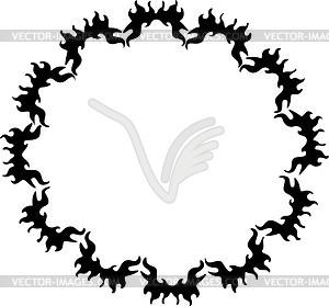Runde Flamme - schwarzweiße Vektorgrafik