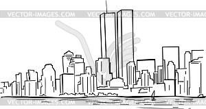 Ehemaliges Skyline von New Yorke mit WTC Türme - Vektorgrafik