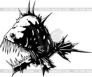 Zahnbewehrter Monster-Fisch - Vektorgrafik