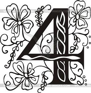 Zahl 4 - Vektor-Design