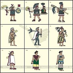 Aztekische Menschen - Vektorgrafik