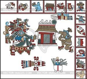 Aztekische Piktogramme and Hieroglyphen - Vektorgrafik