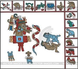 Aztekische Hieroglyphen - Vektorgrafik