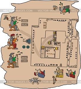 Seite von aztekisches Manuskripts - Vektorgrafik