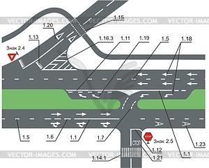 Straßenmarkierung - Vektorgrafik-Design