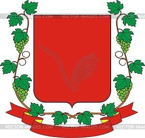 Wappenschild mit Traubenkranz - Vektorgrafik