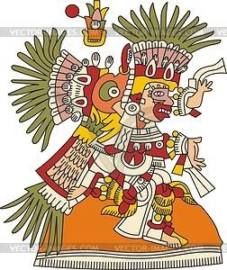 Tlahuizcalpantecuhtli - aztekischer Gott des Morgensterns (Venus) - Vektorgrafik