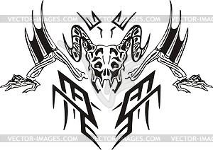 Symmetrisches Schädel Tattoo - Royalty-Free Vektor-Clipart