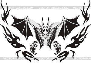 Symmetrischer Vampir Flamme - Clipart