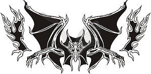 Symmetrischer Vampir Flamme - Clipart-Bild