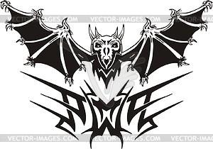 Symmetrisches Tattoo mit Vampir - Vektor-Skizze