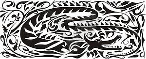 Ornamentales Krokodil Muster - Vektorgrafik