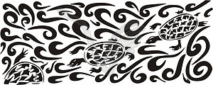 Ornamentales Muster mit Schildkröte - Vektor-Clipart EPS