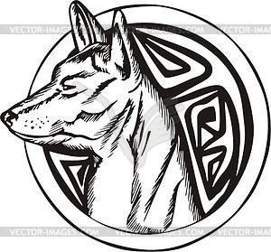 Rundes Hund Tattoo - Vektor-Klipart