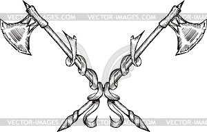 Gekreuzte poleaxes - Stock-Clipart