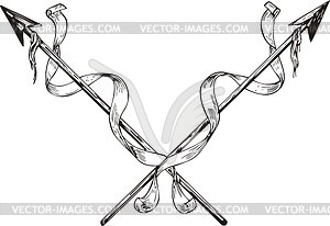 Gekreuzte Speeren mit Bändern - Vector-Bild