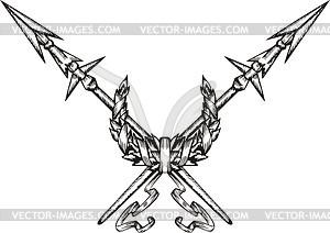 Gekreuzte Speeren mit Kranz - Vektor-Illustration