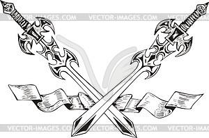 Gekreuzte Schwertern mit Band - Vektorgrafik