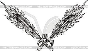 Gekreuzte und geflammte Schwerter - Vektorgrafik