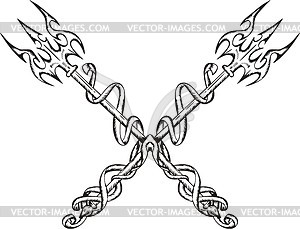Gekreuzte Dreizack mit Bändern - Vektorgrafik
