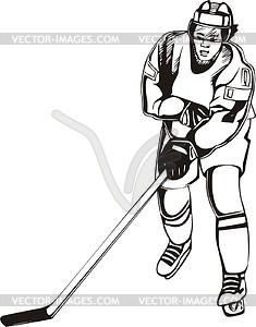 Хоккеист - векторный рисунок
