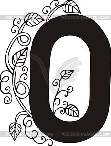 Zahl 0 - schwarzweiße Vektorgrafik