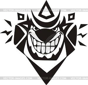 Clown Tattoo - schwarzweiße Vektorgrafik