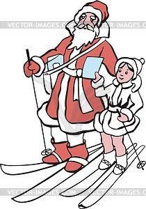 Дед Мороз и Снегурочка на лыжах  - векторный клипарт