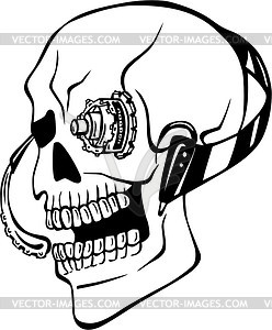 Cyborg Schädel Tattoo - Vektorgrafik