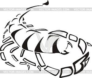 Scorpius - schwarzweiße Vektorgrafik