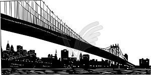 Skyline-Blick von New York (unter der Brücke) - Vektorgrafik