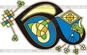 Keltischer Buchstabe E - Stock Vektor-Bild