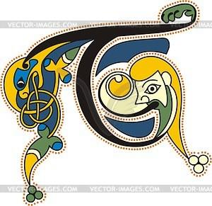Keltischer Buchstabe T mit Kopf des Menschen - Vektorgrafik