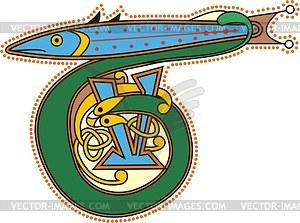 Keltischer Buchstabe T mit Fisch - Vektorgrafik