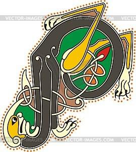 Keltischer Buchstabe P - Vektor-Klipart