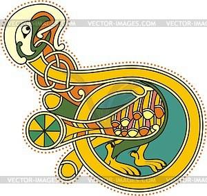 Keltischer Buchstabe D als Vogel - Vector-Illustration